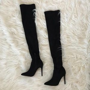 ASOS Blk Over The Knee Faux Suede Thigh High Boots